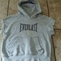 KNOCK OUT EVERLAST hooded light sweatshirt EVERLAST SPORT short sleeve light weight sweatshirt!  This is an XS and is true to size. Vintage cant find them like this anymore! So cool to wear to kickboxing class or to the the gym!  Please make an offer! Thanks for looking! Everlast Tops Sweatshirts & Hoodies