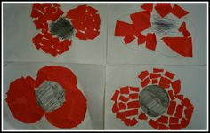 At Noah's Ark toddler group last week we made remembrance poppose. I drew basic poppy shapes and tore up pieces of red paper. Remembrance Sunday, Red Paper, Pre School, Poppies, Shapes, Crafts, Art, Art Background, Manualidades