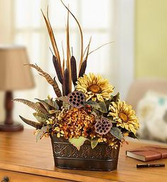 Silk Sunflower Arrangement - New Ideas Fall Floral Arrangements, Artificial Flower Arrangements, Floral Centerpieces, Fall Table Centerpieces, Wedding Centerpieces, Fall Flowers, Dried Flowers, Wedding Flowers, Deco Floral