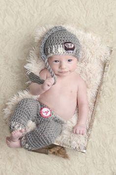 Alabama Crimson Tide - Big Al - Infant Stocking Cap and Pant Set  - Bama - Football - Original - Team Sports - Roll Tide - Handmade in USA by SweetnessInSmyrna on Etsy https://www.etsy.com/listing/266759217/alabama-crimson-tide-big-al-infant