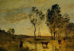 Le Gue (Cows on the Banks of the Gue) - Camille Corot