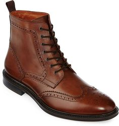 """Dress to impress with our hand-finished leather wingtip boots by Stafford. full-grain leather upper 6 shaft full-length leather-padded sock lining lace up flexible two-tone rubber sole""""Afflinks"""""""