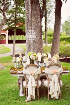 décoration de table pour mariage champêtre en chandeliers vintage