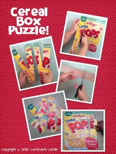 Cereal Box Puzzle...a fun and interactive activity to do with your kiddos!  Perfect for rainy days and Pajama Parties!