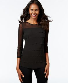INC International Concepts Tiered Illusion Top, Only at Macy's - Tops - Women - Macy's