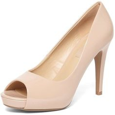 Dorothy Perkins Blush 'Corinna' Court Shoes ($49) ❤ liked on Polyvore featuring shoes, pumps, pink, pink patent pumps, patent pumps, pink patent leather pumps, peep-toe shoes and peep toe shoes