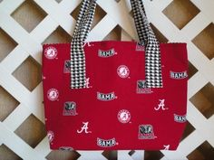Alabama Tote Bag in Crimson with Houndstooth Trim | JRsPillowsandBags - Bags & Purses on ArtFire #afpounce