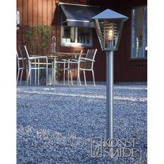 Konstsmide Novara Single Light Small Lamp Post in Stainless Steel Direct Lighting, Home Lighting, Outdoor Lighting, Lighting Design, Outdoor Decor, Lamp Light, Luxury Homes, Garden Design, Backyard