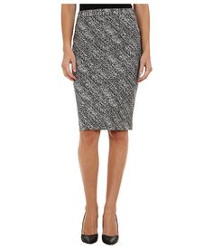 Calvin Klein Notch Bottom Jacquard Skirt Black/White - 6pm.com