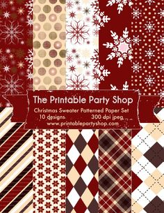 Christmas Sweater Printable Paper Pack Holiday Digital Paper