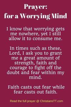 Bible Verses:Prayer for a worrying mind Prayer Scriptures, Bible Prayers, Faith Prayer, God Prayer, Bible Verses Quotes, Faith Quotes, Power Of Prayer, Trust In God Quotes, Quotes Quotes