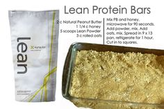 No Bake Homemade Healthy Protein Bars - 44 Calorie Xyngular Lean Protein - All Natural Ingredients - Delicious Post-Workout Protein or Snack on the go! Follow our Team Health & Wellness & Motivation Page: https://m.facebook.com/profile.php?id=295851077285095&ref=bookmark Get started on your journey to A New You in Just 8 Days Here: www.xyngular.com/TeamTnT Sheet Pan, Desserts, Recipes, Banana Bread, Food, Springform Pan, Tailgate Desserts, Deserts, Eten