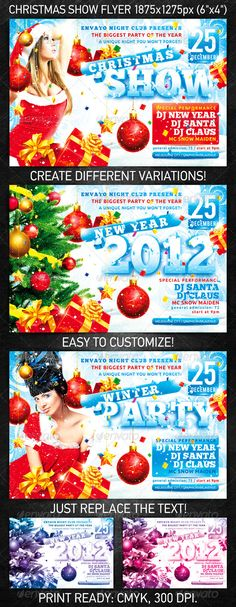 Christmas Show Flyer for the New Year's or Christmas party/club event.  You can download this flyer PSD at the following link – http://graphicriver.net/item/christmas-show-flyer/927900?ref=4ustudio     More flyers and posters here: http://graphicriver.net/user/4ustudio?ref=4ustudio