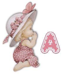 Alfabeto de nenita rezando vestida de rosa. | Oh my Alfabetos!