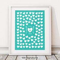 Unique Hearts Guestbook Print Wedding Guest Book by BirdAndKeyUK