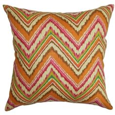 "Let the candy-like colors of this accent pillow bring fun to your living space. This indoor decor pillow combines zigzag prints with bold colors like orange, pink and green. If you want to provide a splash of color that will energize your interiors, this square pillow will do that trick. Made of 100% soft and plush cotton material, this 18"" brings comfort to your bed, sofa or couch. $55.00   #zigzag  #pillows  #orange"
