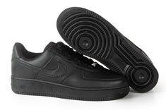 new arrival c982f 91f67 Femme Homme Nike Air Force 1 Low 30th Tout Noir Pas Cher Air Force 1 Noir