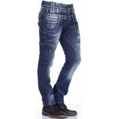 CIPO /& BAXX Herren Jeans Clubwear Denim Hose CD148 Straight Dicke Naht FASHION C