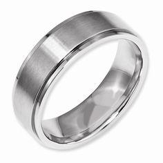 Stainless Steel Ridged Edge 7MM Ring