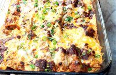 Smoked chicken enchiladas w/ chili gravy - Mytaste.com