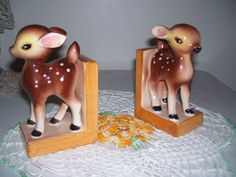 Vintage Bambi Deer Fawn BookEnds NEW in ORIGINAL BOX Japan MINT