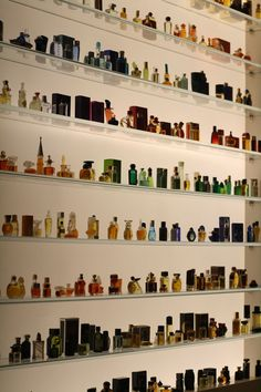 The mini-perfume bottle display at Osswald Parfumerie     Photo by Rocky Li