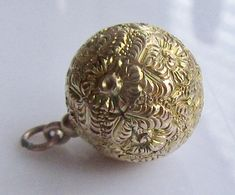Large 9ct Gold Engraved Ball Sphere Charm or Pendant.
