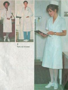 Vintage 70s Nurse Uniform Lab Coat Dress Skirt Simplicty Sewing Pattern 9336 B38