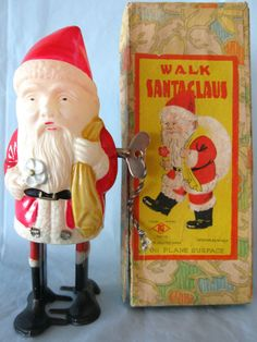 RARE VTG TN NOMURA WALK SANTA CLAUS OCCUPIED JAPAN CELLULOID TIN LEAD WIND UP #Nomura