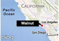 Image: Map featuring Walnut, Calif. (© 2011 Microsoft Corporation/2010 NAVTEQ)