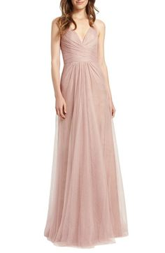 Monique Lhuillier Bridesmaids Sleeveless Pleat Tulle V-Neck Gown available at #Nordstrom loveee