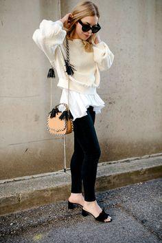 tassel bag, ruffled heels, Allyson in Wonderland