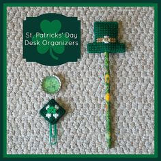 "Plastic Canvas: Saint Patrick's Day Desk Set (pencil topper with pencil, bottle cap magnet and paper clip page holder) -- ""Ready, Set, Sew!"" by Evie"