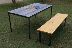 Iron Furniture using dyed hinoki cypress lumber