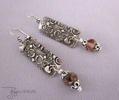 Bohemian dangle earrings with stamped solder design - uniquely handmade - Jryen Designs