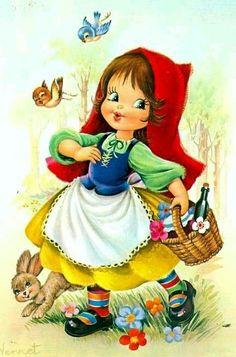 Little red ridinghood pieces) Images Vintage, Vintage Pictures, Vintage Cards, Cute Pictures, Image Halloween, Frog Illustration, Picture Postcards, Children Images, Baby Kind
