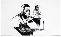 John Coltrane and Miles Davis -  Jazz Illustrations - Music CD Cover Illustration by Eri Griffin