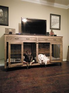 32 Rustic Indoor Dog Houses Design Ideas For Small Dogs To Have - Most people think of outdoor dog houses when they thing of a dog house. However, there are also indoor dog houses. Which are perfect if you want to ke. Wooden Dog Crate, Diy Dog Crate, Dog Crate End Table, Dog Crate Cover, Dog Crate Furniture, Wooden Furniture, Furniture Dog Kennel, Furniture Decor, Office Furniture
