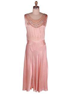 Vintage Peach Silk Charmeuse Bias Cut Gown Beaded Yoke
