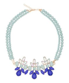 Another great find on #zulily! Mint Green & Blue Teardrop Bib Necklace by ally+zoe #zulilyfinds