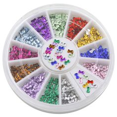 Polytree Fashion 3mm Multicolor 3d Bowknot Nail Art Stickers DIY Manicure Tips Decoration Wheel *** Check this awesome product by going to the link at the image. (Note:Amazon affiliate link) #Makeuporganization