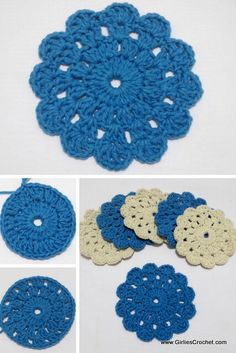 Crochet For Beginners Free crochet pattern - Beginners Crochet Coaster - This is an easy and free crochet pattern for Beginners Crochet Coaster. Beau Crochet, Crochet Mignon, Crochet Diy, Crochet Stitches Patterns, Crochet Patterns For Beginners, Crochet Crafts, Crochet Projects, Knitting Patterns, Crochet Geek