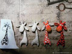 Купить Брошь жираф - жираф, брошь, рыжий, ручная работа, авторская работа, текстильная брошь