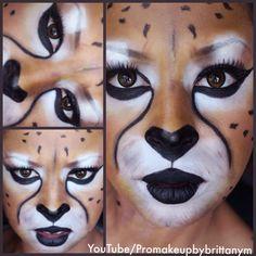 Cheetah Halloween Costume Mask by Makeup Artist Brittany Martin
