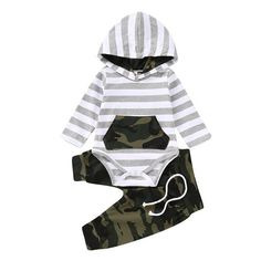 Camo Stripe onesie set Super soft Classic with a little fun this camp outfit is perfect for our sweet but sometimes wild boys! Baby Boy Outfits, Kids Outfits, Camouflage Pants, Toddler Boy Fashion, Striped Bodysuit, Printed Trousers, Boys Hoodies, Outfit Sets, Fashion Outfits