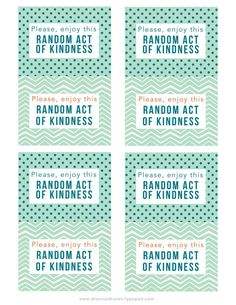 Random Acts of Kindness Cards - Printable  |  Find Joy in the Journey