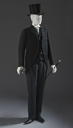 Jack/Ernest: 1880 Morning Coat and Vest Place: England Costume/clothing principle attire/upper body, Wool twill with wool braid trim Victorian Mens Fashion, 1880s Fashion, Victorian Era, Men's Fashion, Fashion Clothes, Morning Coat, Morning Suits, Antique Clothing, Historical Clothing
