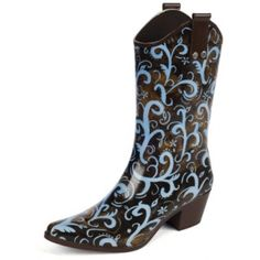 Colors are turquoise, brown silver. Us bridesmaids are to wear rubber boots. These will be mine! Cowboy Rain Boots, Garden Boots, Closet Accessories, Steel Toe Boots, Me Too Shoes, Women's Shoes, Rubber Rain Boots, Pumps
