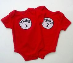 Boy Girl Twin Outfits Thing 1 Thing 2 Onesies by TheTwinShop, $30.00
