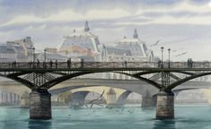 Thierry Duval was born in Paris, France. His watercolors are characterized by a strong light and precision in drawing, being almost or hyperrealist in the results mainly in his Paris watercolors. Art Aquarelle, Art Watercolor, Pont Paris, Paris Painting, Art Gallery, Food Artists, Thierry, Paris Art, Art Original